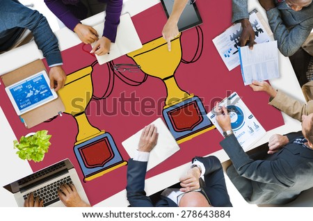 Motivation Trophy Success Winning Reward Prize Concept - stock photo