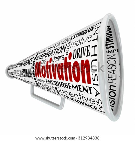 Motivation word on bullhorn or megaphone to illustrate inspirational speaking, leadership or management sharing a message to inspire a team, workforce or employees - stock photo