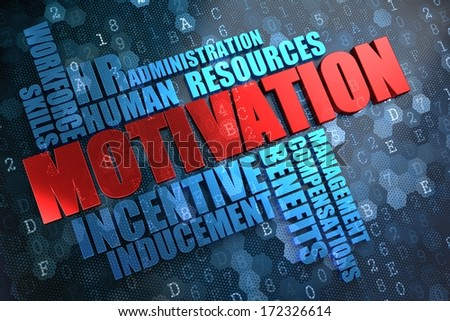 Motivation - Wordcloud Concept. Red Word in Blue Wordcloud on Digital Background. - stock photo