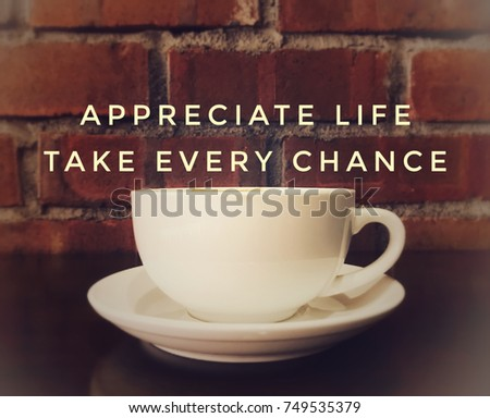 Captivating Motivational And Inspirational Quotes   Appreciate Life. Take Every Chance.  With Blurred Vintage Styled Awesome Ideas