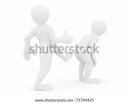 Motivational kick on white isolated background. 3d