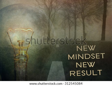 Motivational quotes  mindset for new results concept. Grunge wall background. - stock photo