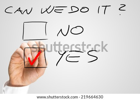 Motivational Themed Image with Hand Putting Red Check in Yes Box in Response to Question. - stock photo