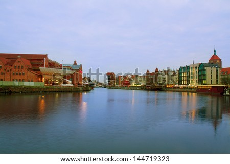 Motlawa quay and old  Gdansk at night, Poland