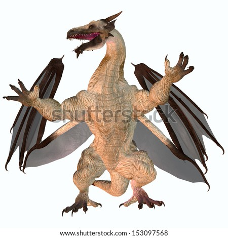Motley Dragon - A creature of myth and fantasy the dragon is a fierce flying monster with horns and large teeth.