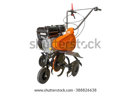 Moto plow isolated on white background - stock photo