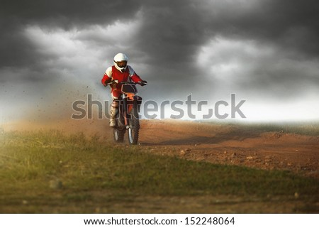 motocross bike in a race - stock photo