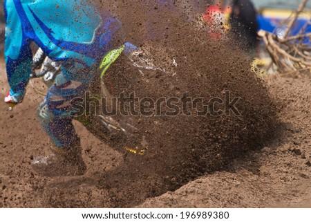 Motocross bike in a race - stock photo
