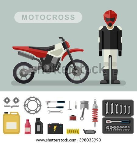 Motocross bike with parts in flat style. Raster version. - stock photo