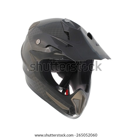 Motocross motorcycle helmet Isolated on white background,black ,shiny carbon fiber