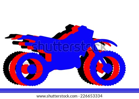 Motocross racing and the silhouettes of three motorcycles - stock photo