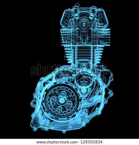 Motocycle engine (3D x-ray blue transparent isolated on black)