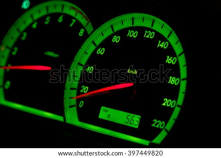 motometer and speedometer green highlighted in a car at night - stock photo