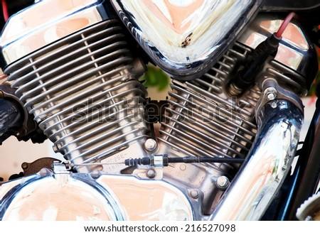 Motor bike detail - Engine block. - stock photo