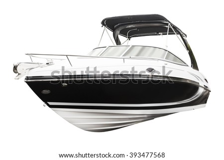 Motor boat. Isolated over white background - stock photo