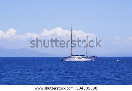 Motor boat on Ionian sea, Greece - stock photo