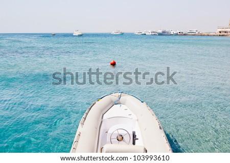 motor boat on the sea - stock photo