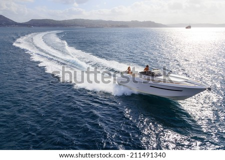 motor boat, rio yachts, best italian yacht - stock photo