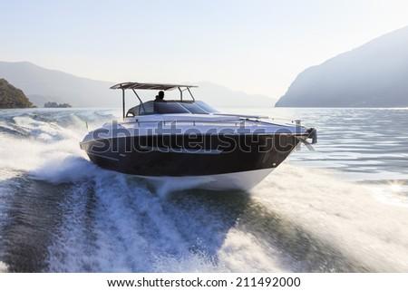 motor boat, rio yachts, best italian yacht - stock photo