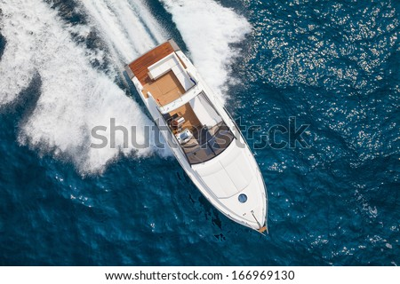 Motor boat, rio yachts italian shipyard - stock photo
