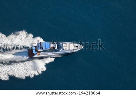 motor boat, yacht, rio yacht granturismo 56, Fast yacht - stock photo
