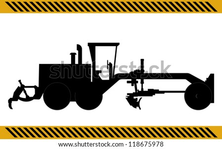 Motor Grader construction machinery equipment isolated - stock photo