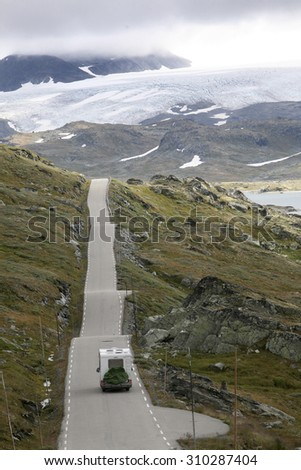 motor home on Road in Norway, Jotunheimen - stock photo