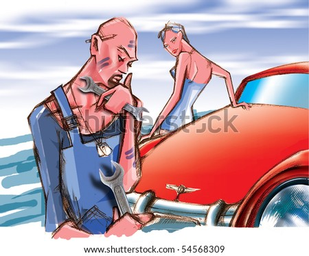 motor mechanic and a woman's car