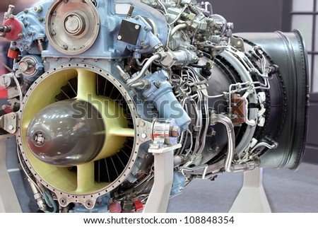 Motor of helicopter with turbine on exhibition - stock photo