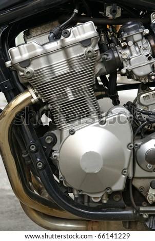 Motor of motorcycle or motorbike, powerful chrome engine - stock photo