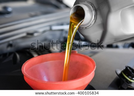 Motor oil, car engine close up
