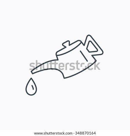 Motor oil icon. Fuel can with drop sign. Linear outline icon on white background.