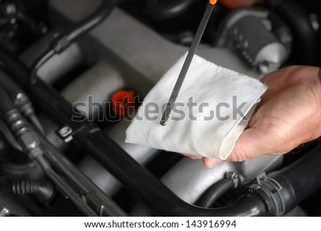 Motor oil level - stock photo