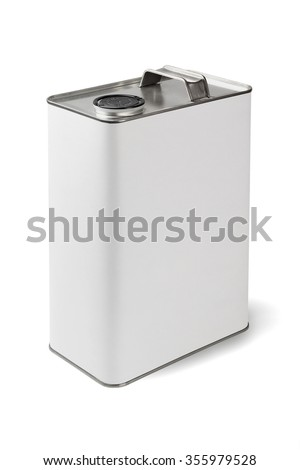 Motor Oil Metal Container on White Background - stock photo