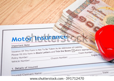 Motor or car insurance application and thai banknotes money form with car; document and car is mock-up - stock photo