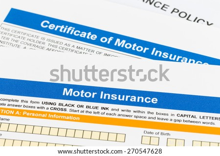 Motor or car insurance application, this is mock-up - stock photo