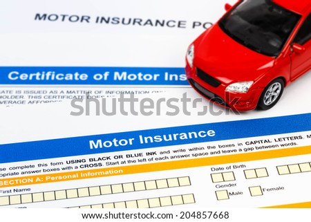 Motor or car insurance application with car model - stock photo