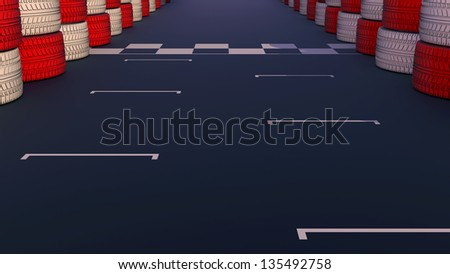 Motor racing track at a sports venue showing dividing finish line on the asphalt road. - stock photo
