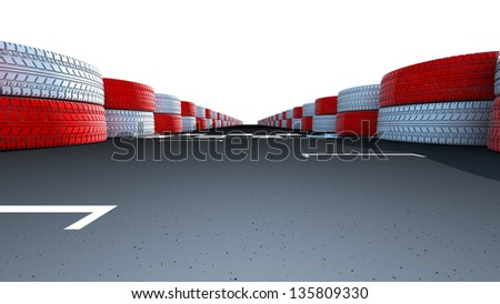 Motor racing track at a sports venue showing dividing finish line on the asphalt road, Clipping path included. - stock photo