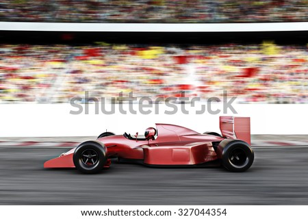 Motor sports red race car side view on a track leading the pack with motion Blur. - stock photo