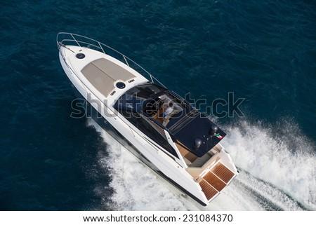 Motor yacht, rio yacht, fast yacht, italy - stock photo