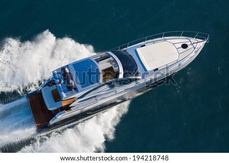 Motor yacht, rio yacht, granturismo 56, fast yacht, italy - stock photo