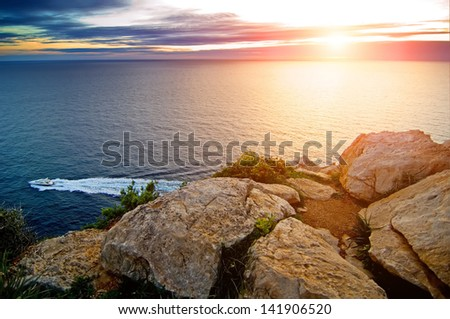 Motor Yacht Sunset  Majorca 03 - stock photo