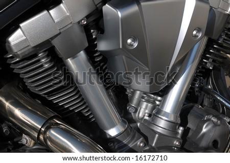 Motorbike engine detail - stock photo