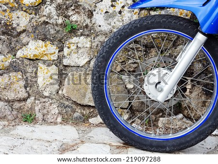 Motorbike front wheel. - stock photo