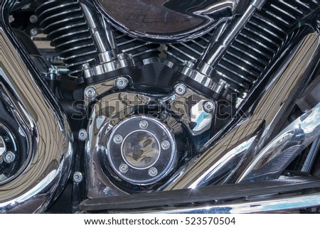 Motorbike Harley detail engine close up