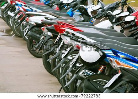 motorbike parking - stock photo