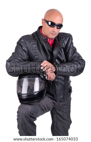 Motorbike rider against a white background