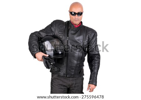 Motorbike rider against a white background - stock photo