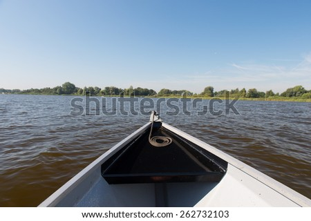 Motorboat at the Dutch lake